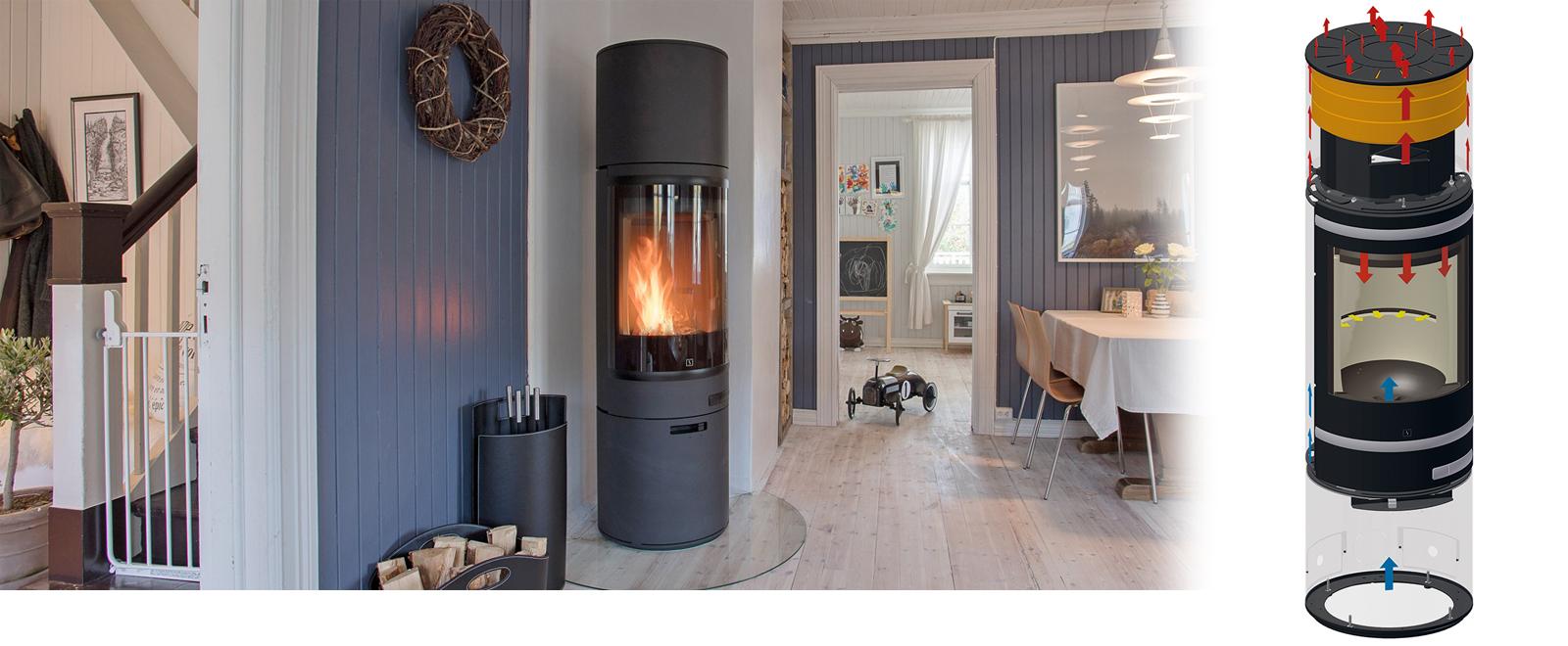 Scan 68 Maxi har plass til Heat Storage System som holder inntil 12 timer på varmen etter siste ilegg av ved.