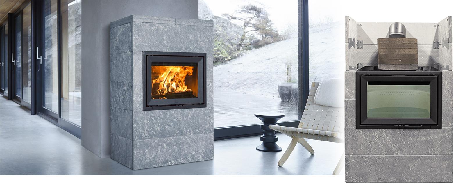 Jøtul FS 175 er en kleberomrammming med plass til varmeakkumulerende stein dersom man velger et tilleggselement i høyden.